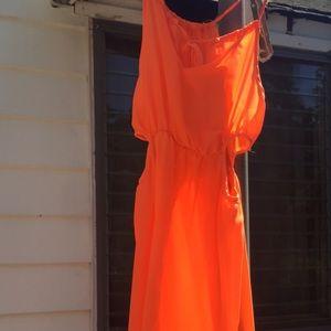 Sheer orange one piece romper medium
